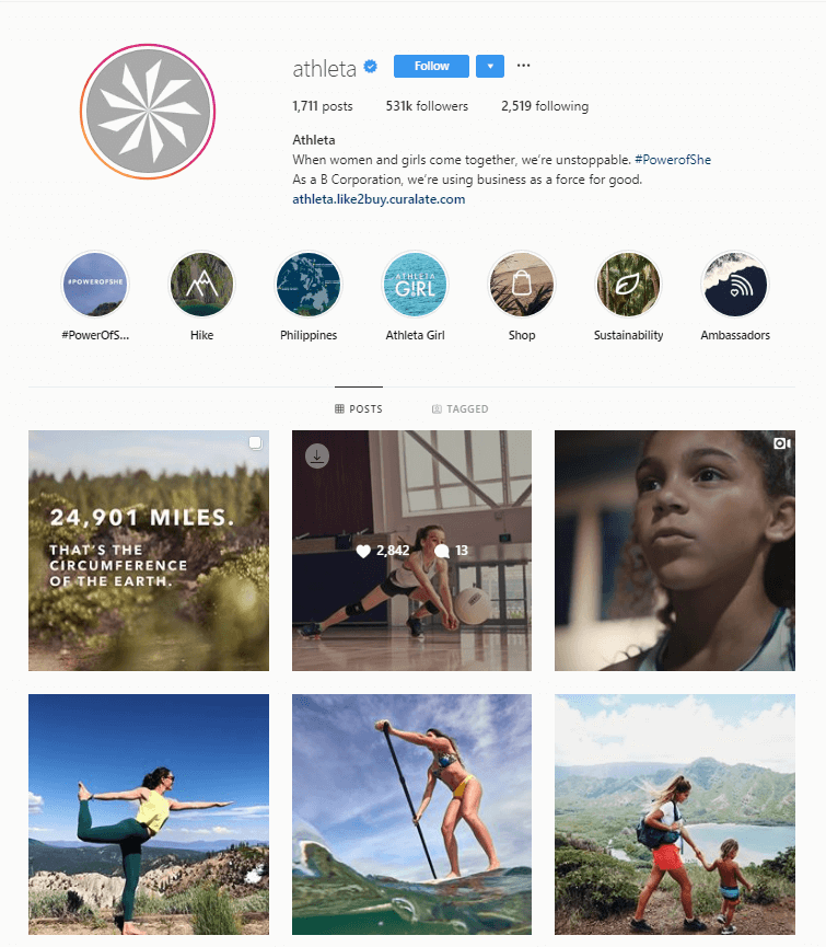 Athleta Instagram account biography page.