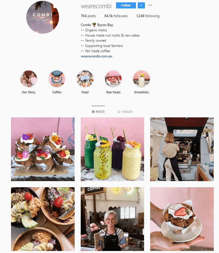 wearecombi Instagram account page.