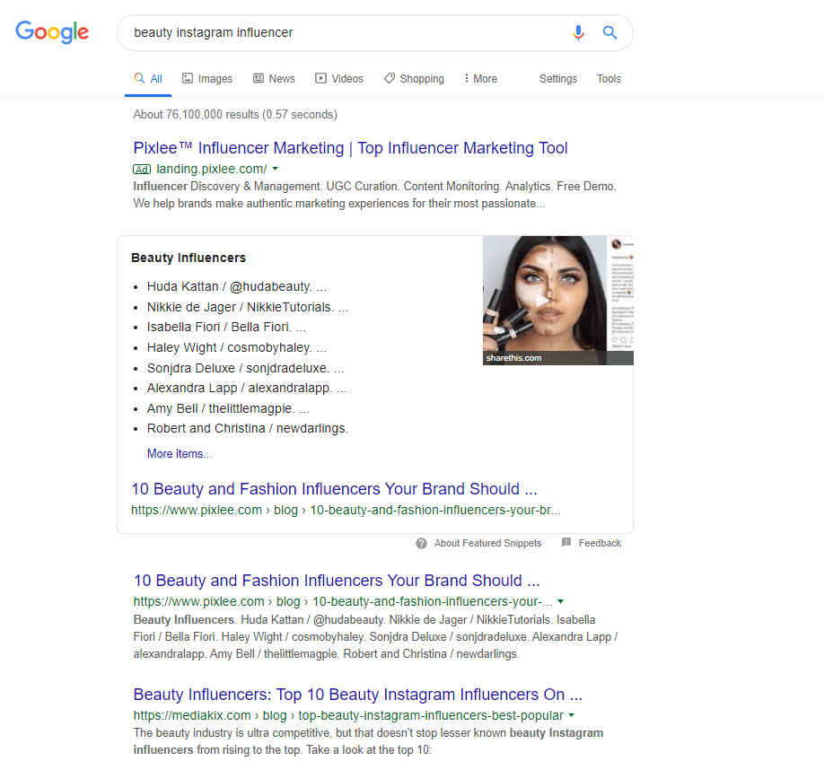 """A screenshot example of a Google search for """"beauty Instagram influencer."""""""