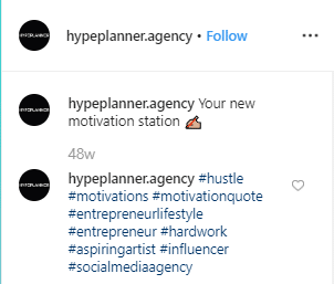 Screenshot of an Instagram post by Hypeplanner with hashtags in comments.