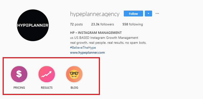 Screenshot of Hypeplanner Instagram bio with Instagram story highlights circled.