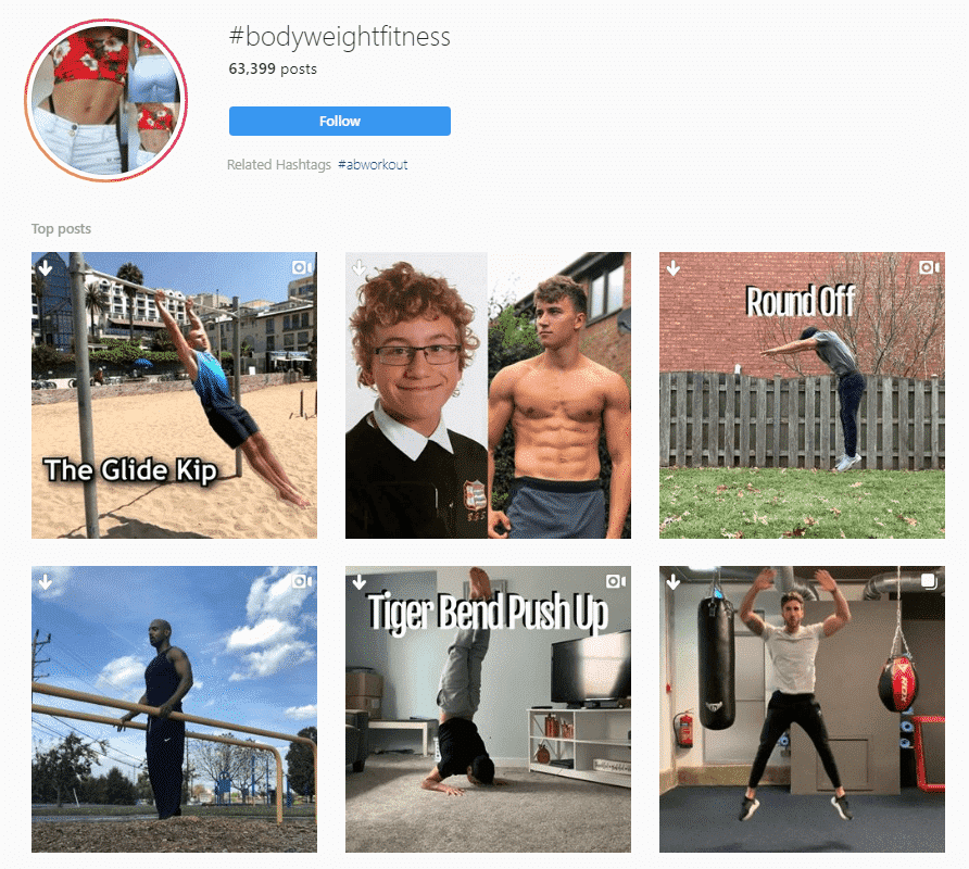 """A screenshot search for the Instagram hashtag """"#bodyweightfitness"""""""