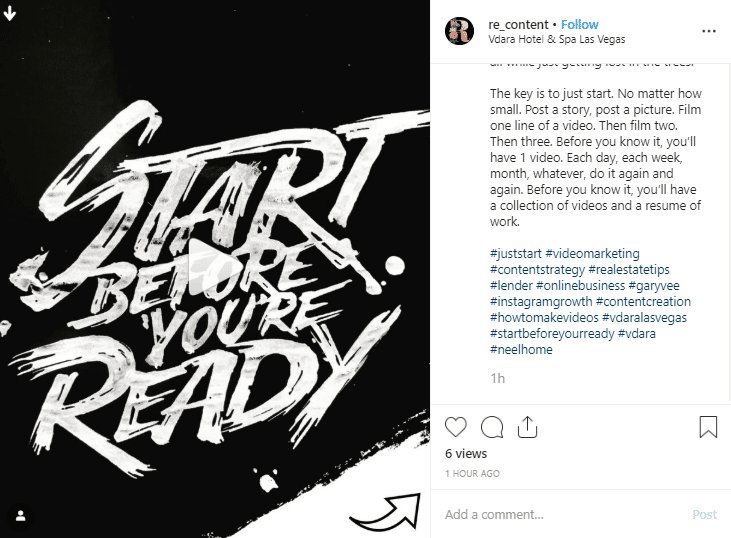 Instagram post with a collection of hashtags to increase organic reach.