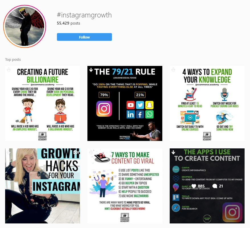 Screenshot of the Instagram explore page for #instagramgrowth