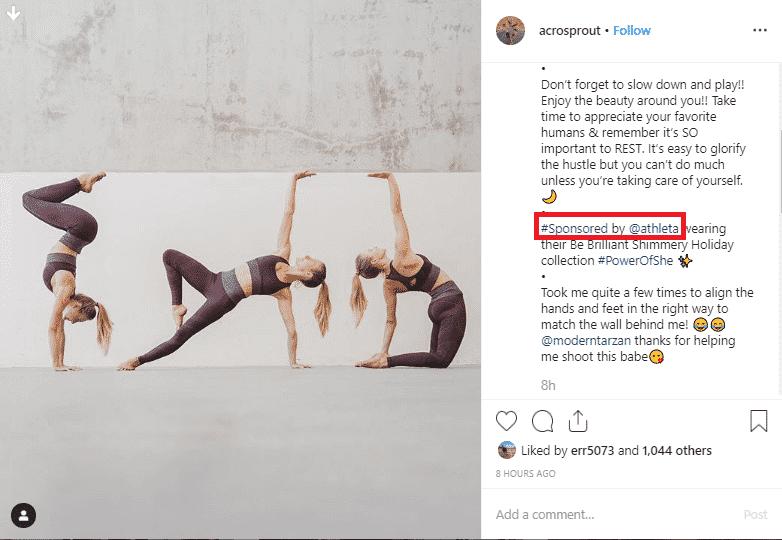 An example screenshot of an Instagram sponsored post.