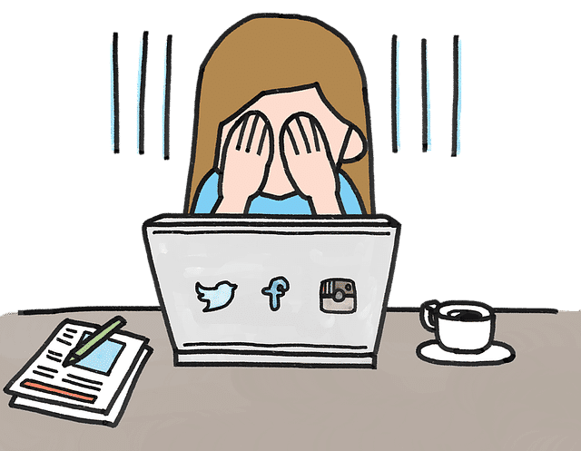 Cartoon drawing of a woman frustrated with managing her Instagram and considering outsourcing.